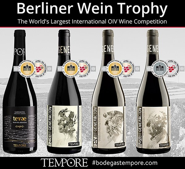 BERLINER WEIN TROPHY HAS AWARDED BODEGAS TEMPORE ORGANIC WINES WITH 4 MEDALS